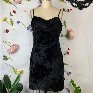 Parker black velvet burnout spaghetti strap dress